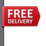 Красный кожаный ярлык закладки бесплатной доставки Стоковые Изображения