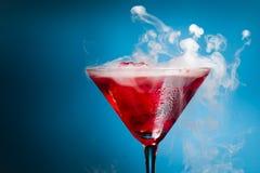 Красный коктеил с паром льда Стоковая Фотография