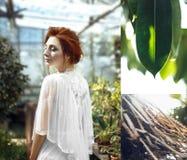 Красный коллаж листьев зеленого цвета девушки волос стоковое изображение rf