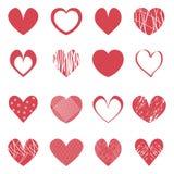 Красный комплект значка вектора сердец Стоковое Изображение