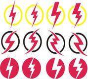 Красный комплект значка вектора электричества Стоковое Изображение