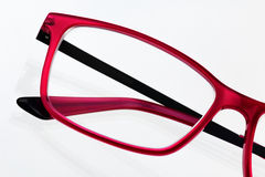 Красный конец рамки eyeglass вверх стоковое фото rf
