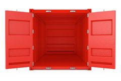 Красный контейнер грузовых перевозок с открыть дверями r иллюстрация вектора
