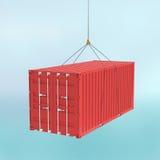 Красный контейнер для перевозок на крюке - путь вырезывания иллюстрация штока