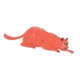 Красный кот вползая для охотиться иллюстрация штока
