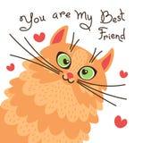 Красный кот вы мой лучший друг Карточка с сладостным котенком имбиря также вектор иллюстрации притяжки corel Стоковые Изображения RF