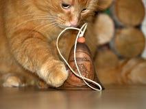 Красный кот играя с литовским колоколом сувенира стоковое фото