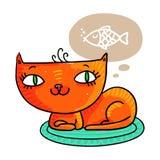 Красный кот мечтая рыбы, изолированной на белизне Стоковая Фотография RF
