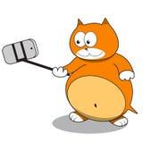 Красный кот принимая selfie используя ручку selfie Стоковая Фотография