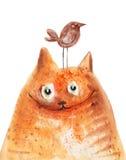 Красный кот с улыбкой птицы иллюстрация вектора