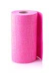 Красный крен бумажного полотенца высек на белой предпосылке Стоковые Фото