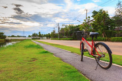 Красный круг велосипеда на траве в деревне сада Стоковое Изображение RF