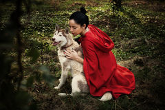 Красный клобук катания и волк Стоковое Изображение