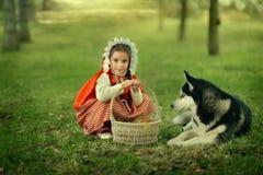 Красный клобук катания и серый волк в лесе Стоковая Фотография
