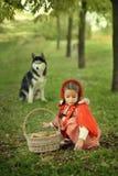 Красный клобук катания и серый волк в лесе Стоковые Фото