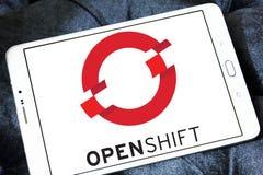 Красный логотип платформы OpenShift шляпы Стоковые Изображения