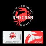 Красный логотип ресторана краба Эмблема ресторана морепродуктов тождественность серия визитной карточки финансовохозяйственная иллюстрация вектора
