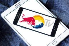 Красный логотип ТВ Bull Стоковые Изображения