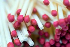 Красный макрос Matchsticks Стоковая Фотография