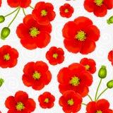 Красный мак цветет картина вектора безшовная Стоковое Изображение