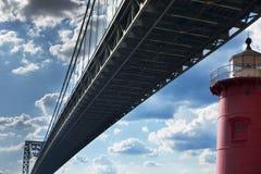 Красный маяк на мосте Джорджа Вашингтона Стоковое Изображение RF