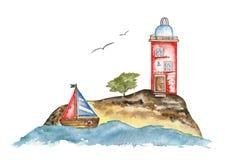 Красный маяк на острове в море и паруснике иллюстрация вектора