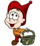 Красный маленький эльф с корзиной Стоковые Фотографии RF