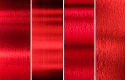 Красный металл текстурирует комплект цвета Стоковые Изображения