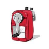 Красный механически нарисованный заточник руки карандаша изолированный на белизне Стоковая Фотография