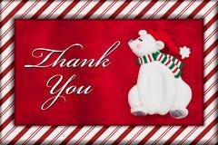 Красный медведь меха и рождества плюша с спасибо сообщением Стоковые Фотографии RF