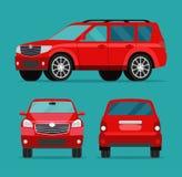 Красный набор угла автомобиля 2 Взгляд со стороны автомобиля, задний взгляд и вид спереди бесплатная иллюстрация