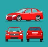Красный набор угла седана 3 Взгляд со стороны автомобиля, задний взгляд и вид спереди бесплатная иллюстрация
