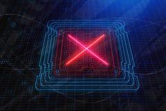 Красный x на цифровых табло/экране иллюстрация штока