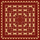 Красный носовой платок с орнаментом золота Стоковое Изображение RF
