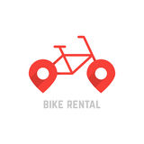 Красный логотип проката велосипедов с штырем карты иллюстрация вектора