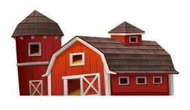 Красный дом амбара на белой предпосылке иллюстрация штока