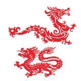 Красный орнамент дракона Стоковая Фотография RF