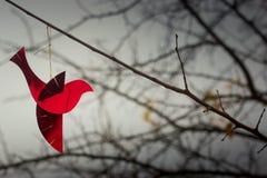 Красный орнамент птицы на ветви Хорошие обои с copyspace Стоковые Фотографии RF