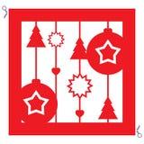 Красный орнамент рождества для резать с ножницами вектор иллюстрация вектора