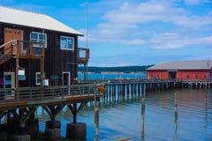 Красный остров Coupeville Whidbey пристани здания Стоковые Изображения RF