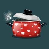 Красный лоток с крышкой открытой Стоковая Фотография