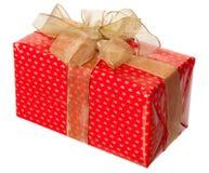 Красный пакет с смычком золота Стоковая Фотография