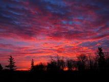 Красный пасмурный восход солнца Стоковые Изображения RF