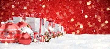 Красный перевод предпосылки 3D безделушек и подарков рождества иллюстрация штока