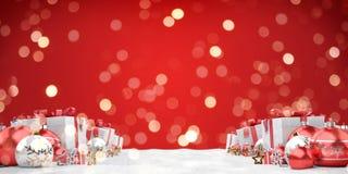 Красный перевод предпосылки 3D безделушек и подарков рождества бесплатная иллюстрация