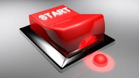 Красный переключатель для того чтобы НАЧАТЬ - перевод 3D иллюстрация вектора