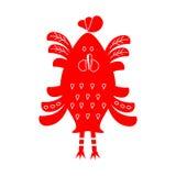 Красный петух на белой предпосылке плоский персонаж из мультфильма Стоковые Фотографии RF