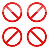 Красный ПК собрания 4 знака запрета Не позволить значку также вектор иллюстрации притяжки corel иллюстрация вектора