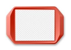 Красный пластичный поднос подноса изолированный на белизне Модель-макет вектора Стоковое Фото