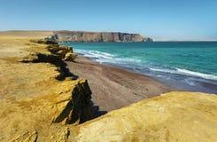 Красный пляж песка национального заповедника Paracas в Перу Стоковое Фото